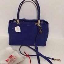 Coach Madison Small Christie Carryall Lacquer Blue Saffiano Style 30128 Nwt Photo