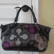 Coach Madison Sophia Clover Purple/gray/black Sateen Handbag Rare Photo