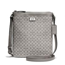Coach Madison Swingpack in Op Art Sateen Fabric in Grey New Authentic Photo