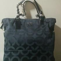 Coach Madison Tribeca Op Art Sateen Black/sgnature Tote Purse -14138 Photo