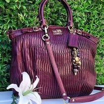 Coach Madison Wine Lindsay Gathered Leather Satchel Handbag Purse 18643 Tote Photo
