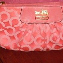 Coach Madison Wristlet Melon Pleated Op-Art Bag Purse Pink Photo