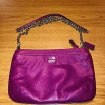 Coach Magenta Leather Purse Clutch Wristlet Chain Strap Zip-Top Exc Photo
