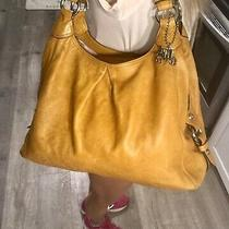 Coach Maggie Yellow Camel Leather Shoulder Hobo Tote Bag Pleated Satchel Purse Photo