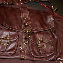 Coach Mahogany Brooklyn Vachetta Leather Shoulder Tote Laptop Bag Purse Xl Photo