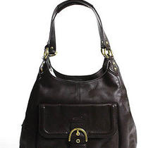 Coach Mahogany Brown Leather Solid Gold Tone Hardware Hobo Handbag Medium Photo