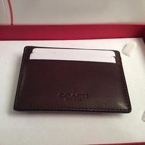 Coach Mahogany Leather Money Clip Card Case Retail 85 Photo