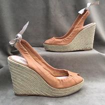 Coach  Maritza Peep Toe Wedge Heels Slingbacks W/bow  Leather  Nude  Size 7 B Photo