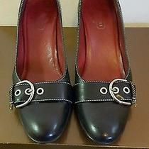 Coach Martina Black Leather Shoes Heels Pumps Size 7 Made in Italy W/box Photo
