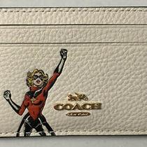 Coach Marvel Flat Card Case With Carol Danvers Chalk Multi 3605 Nwt Photo