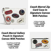 Coach Marvel Gallery Pouch in Signature Canvas With Patches & Zip Card Case Set Photo