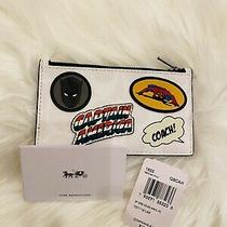 Coach Marvel Zip Card Case in Signature Canvas With Patches. Photo