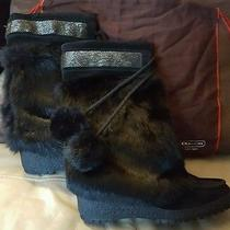 Coach Maryann Rabbit Fur Boots Size 9 Purse Winter Christmas Gift Designer Shoes Photo