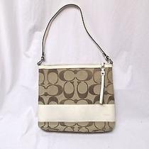Coach Medium Brown Ivory Signature Jacquard F13674 Shoulder Handbag Purse Photo
