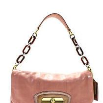 Coach  Medium Leather Chain Link Shoulder Handbag Pink Brown Photo