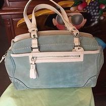 Coach Medium Satchel Purse Pastel Green & White No J04s-5081  Photo