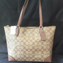 Coach Medium Signature C Print Zip Top Tote F29208 New With Tags Imported Photo
