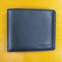 Coach Men Black Billfold Double Fold Bifold Leather Wallet  Photo