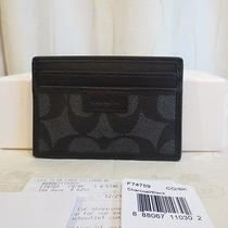 Coach Men Heritage Slim Card Case Charcoal/black Pvc Leather Wallet Nwt Gift Box Photo