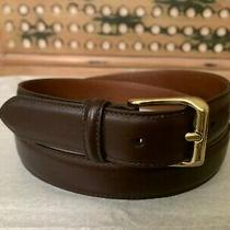 Coach Men's 42/105  Brown Leather Belt Gold Brass Buckle Photo