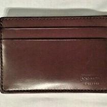 Coach Men's Black Leather Money Clip Card Case Holder New  Photo