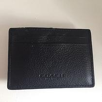 Coach Men's Black Leather Money Clip Card Holder Wallet Damaged as Is Photo