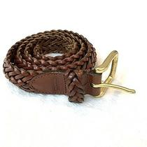 Coach Men's Brown Genuine Leather Braided Woven Hand Crafted Belt Sz 30 Gold Photo
