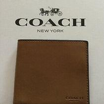 Coach Men's Compact Id Sport Calf Leather Wallet Mahogany F74991 W/gift Box Nwt Photo