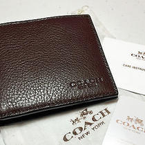 Coach Men's Double Billfold Sport Calf Leather in Mahogany 75084 W/dust Bag Nwt Photo