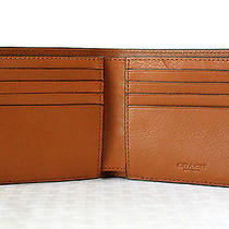Coach Men's Double Billfold Sport Calf Leather Wallet Saddle F75084  Photo