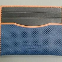 Coach Men's Perforated Leather Slim Card Case in True Blue Multi - Nwt Photo