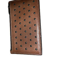 Coach Men's Saddle Brown Leather in Rivets Zip Card Case Wallet 38142 Photo