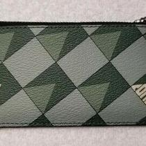 Coach Men's Signature Canvas Check Geo Print Zip Card Case in Teal - Nwt Photo