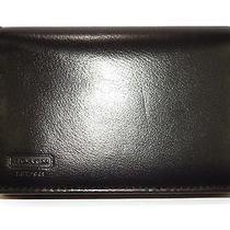 Coach Men's Water Buffalo Genuine Black Leather Bifold / Trifold Wallet Photo