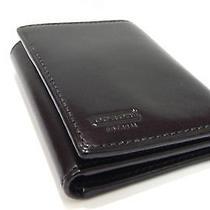 Coach Men's Water Buffalo Genuine Black Leather Trifold Wallet Photo