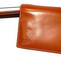 Coach Men's Water Buffalo Genuine Brown Tan Leather Bifold / Trifold Wallet Photo