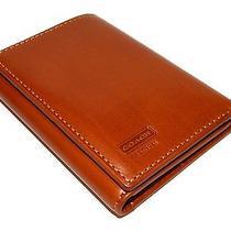 Coach Men's Water Buffalo Genuine Brown Tan Leather Trifold Wallet Photo