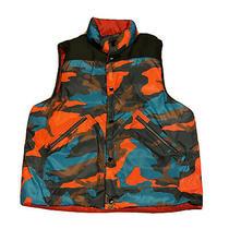 Coach Mens Winter Puffer Button Up Vest With Pockets Blue Orange Black Sz Xl Photo