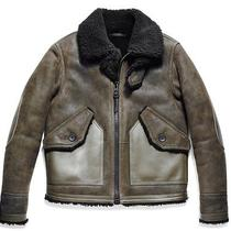 Coach Men Shearling B3 Leather Bomber Jacket - Small Military/olive Msrp 2000 Photo