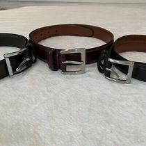 Coach Mens Lot of 3 Leather Belts 30 Black Maroon Black Professional Photo