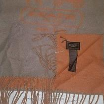 Coach Mens Scarf Bicolor Doublefaced Scarf F85134 Brown /orange W/box  Photo