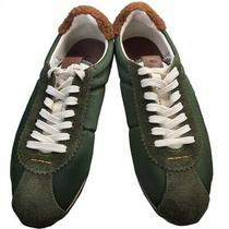 Coach Mens Sneakers Green Suede Borwn Q1294 Lace Up Low Sheepskin Cuff 7.5 D New Photo