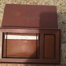 Coach Mens Tan 3 in 1 Leather Card Case Money Clip Gift Box New Photo
