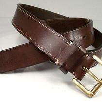 Coach Mens Vtg Ital Harness Leather Belt 36 150 Cmp Nice Rd Dtails Mahogany Brn Photo