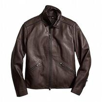 Coach Mens York Leather Jacket Size L  Mahogany (898) Photo