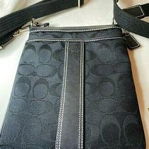 Coach Messenger Bag Signature C Logo Fabric Small Go732fo6o16 Black Nwot Photo