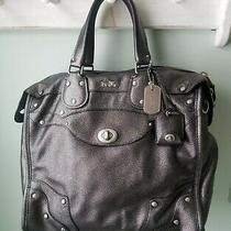 Coach Metallic Black Bronzed Leather Handbag Purse Satchel Photo