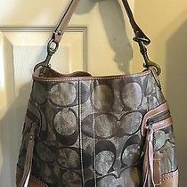 Coach Metallic Bronze Jacquard & Leather Bottom Tote Handbag Purse - 10010 Photo