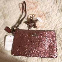 Coach Metallic Cherry Glitter Small Wristlet F64585 Nwt  Star Keyfob 56735 Photo