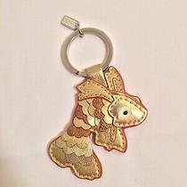 Coach Metallic Gold Leather Koi Fish Key Fob Ring Keychain Bag Charmminor Wear Photo